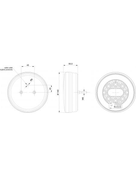 Dimensiones de Piloto Trasero LED 3 Funciones Redondo Fristom FT-110 Posición Freno Intermitente 12V 24V | LeonLeds Iluminación