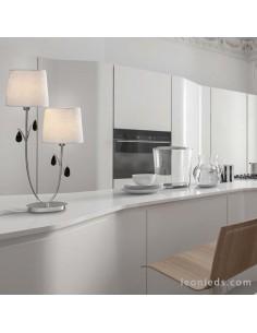 Lámpara de Sobremesa serie Andrea | Lámpara de mesa Andrea de dos pantallas | Lámpara sobremesa Cromada 6318 | LeonLeds