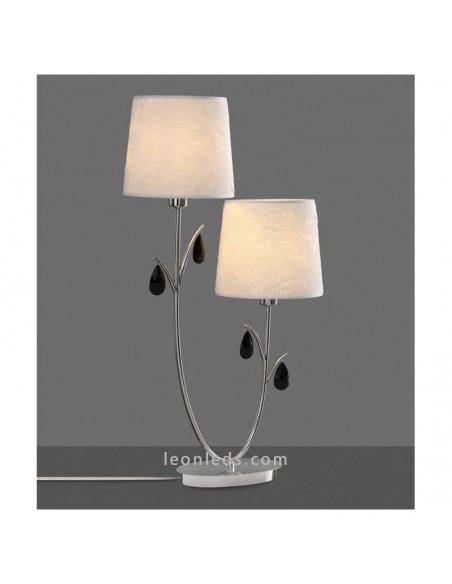 Lámpara de Sobremesa serie Andrea   Lámpara de mesa Andrea de dos pantallas   Lámpara sobremesa Cromada 6318   LeonLeds