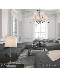 Decoración de salón con Lámparas Clásicas Cromadas | Lámpara de sobremesa Andrea 1XE14 | LeonLeds Iluminación