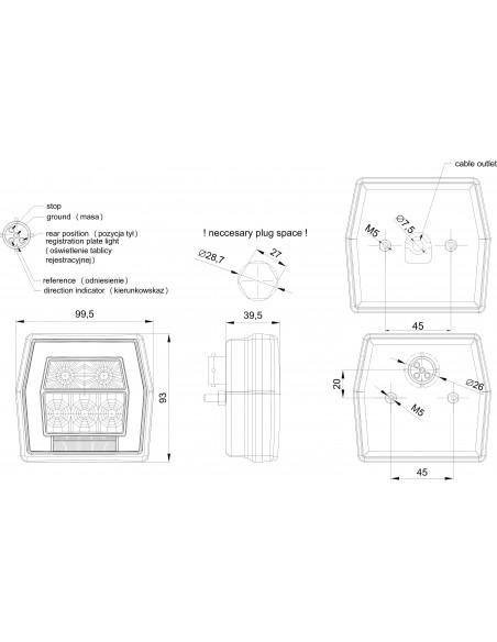 Dimensiones de Piloto trasero LED para remolque Fristom FT120 T con luz de matricula | LeonLeds Pilotos LED