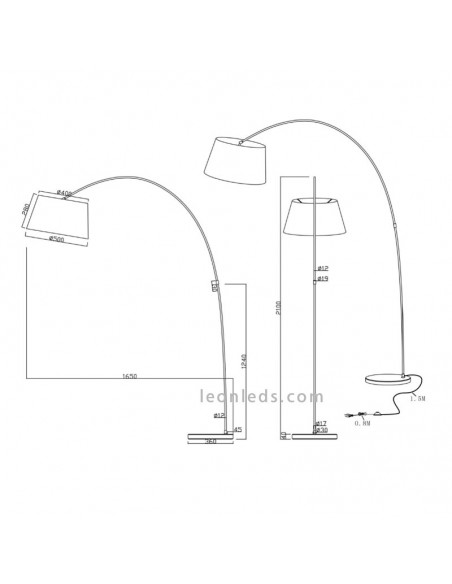 Dimensiones de Lámpara de Pie de Salón | Lámpara de Pie moderna | Lámpara de Pie Cromada | LeonLeds Iluminación