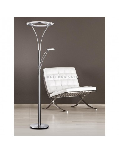 Lámpara de Pie Beijing | Lámpara de pie para salon cromada | Lámpara de Pie Cromada moderna | LeonLeds Iluminación