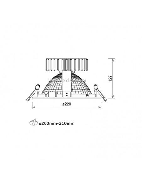 Dimensiones de Downlight LED redondo serie Aquiles II | Downlight especial alimentación | LeonLeds Iluminación