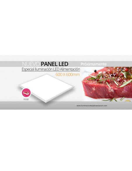 Panel LED 60x60 para iluminar carnes rojas | Panel LED especial alimentación | LeonLeds Iluminación