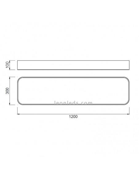 Dimensiones de Plafón LED Rectangular Cumbuco | Medidas de Plafón LED Cumbuco 5503 | LeonLeds Iluminación