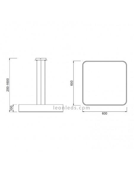 Dimensiones Plafón Cumbuco con kit de suspensión | Plafón LED Cumbuco cuadrado | Plafón LED colgante | LeonLeds Iluminación