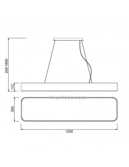 Dimensiones de Plafón LED Cumbuco con kit colgante | Kit Colgante para Plafón LED Cumbuco | LeonLeds Iluminación