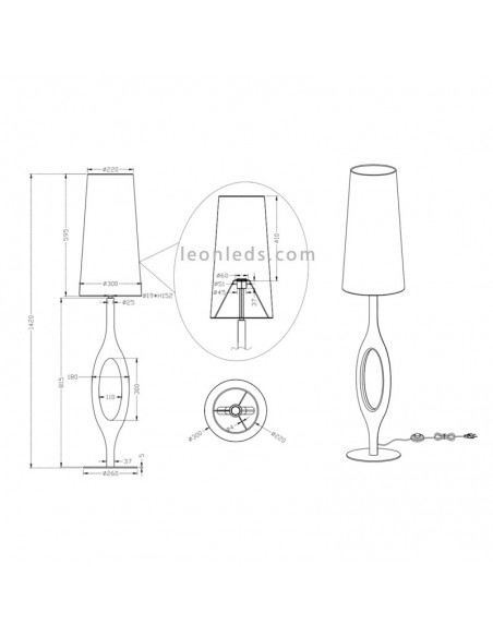 Dimensiones de Lámpara de pie para salón moderna Florence | Medidas de Lámpara de Pie | LeonLeds Iluminación
