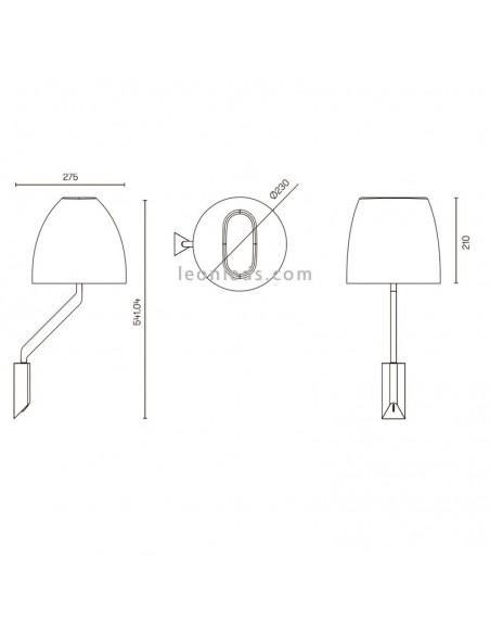 Dimensiones de Aplique Flavia de Grok | Aplique de pared Flavia cromado y blanco de la marca Grok | LeonLeds Iluminación