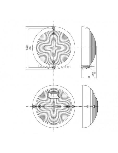 Plafón LED redondo negro para interior de automóviles o remolques | Fristom FT160 FT-160 negro | LeonLeds Iluminación LED