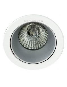 Aro empotrable Blanco y Plata | Aro empotrable orientable redondo blanco y plata | LeonLeds Iluminación