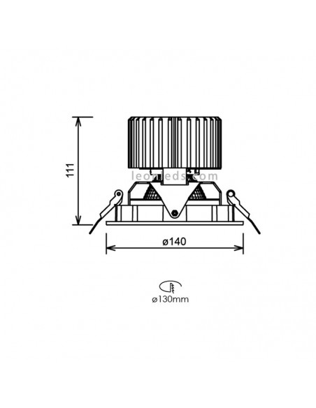 Dimensiones de Donwlight LED redondo orientable Leds Factory Aster R | LeonLeds Iluminación