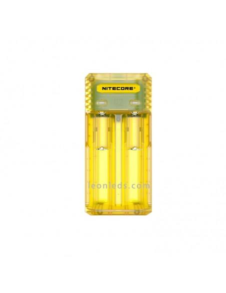 Cargador Nitecore Q2 Amarillo | Cargador de 2 bahías Nitecore Q2 | LeonLeds Linternas LED