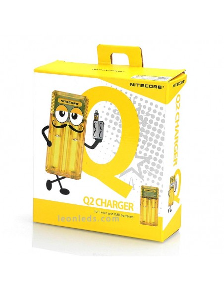 Nitecore Q2 Color amarillo limon | Cargador de 2 bahías para adaptador de coche | LeonLeds Iluminación