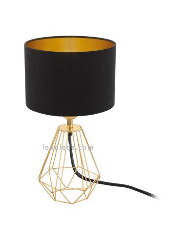 Lámpara de sobremesa negra y dorara | Lámpara de sobremesa vintage barata | LeonLeds Iluminación decorativa