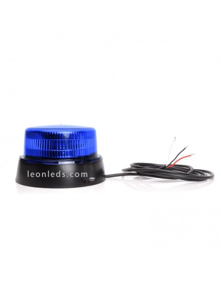 Rotativo LED Azul con cable y soporte | Rotativo LED Azul Homologado | Rotativo LED para instalación fija | LeonLeds Iluminación