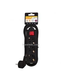Base múltiple negro con 3 tomas schuko, con interruptor  y con 1.4 metros de cable | Leonleds Iluminación