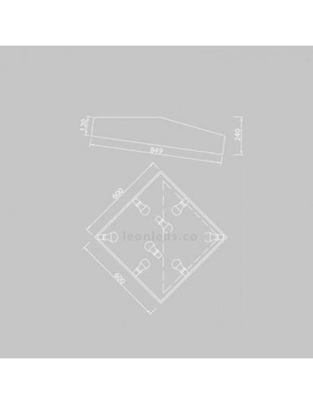 Dimensiones de Plafón moderno Mini de mantra iluminación | LeonLeds Iluminación