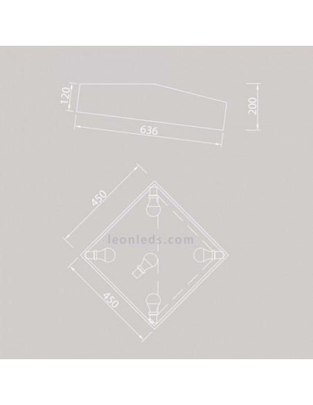 Dimensiones de Plafón de techo serie Mini de mantra 6163 | Plafón cuadrado Plateado | Leonleds Iluminación