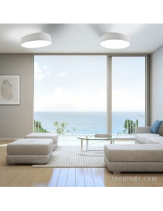 Estancia con dos plafones redondos serie Mini de mantra 6164 | Plafon de Techo redondo grande | LeonLeds Iluminación