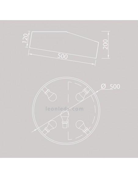Dimensiones Plafón de techo redondo Plata | Plafón de techo redonda Plata 6169 moderno | LeonLeds Iluminación