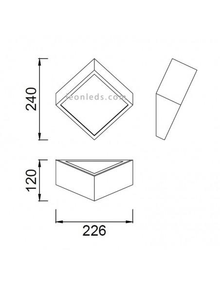 Dimensiones de Aplique de pared exterior Cuadrado 5483 Mini de mantra | LeonLeds Iluminación