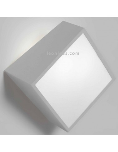 Aplique de exterior plata cuadrado Mini de mantra | Aplique de exterior cuadrado plateado para exterior | LeonLeds Iluminación