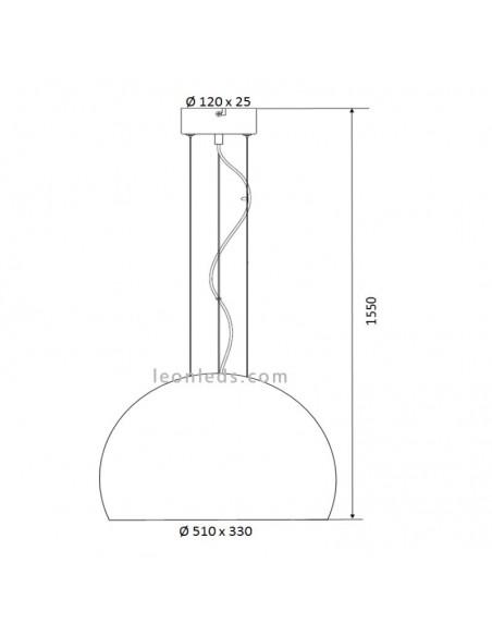 Lámpara de Techo Ontario Cobre con pantalla de cristal | Lámpara de Techo Ontario de crobre | LeonLeds Iluminación