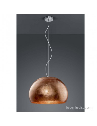 Lámpara de Techo Cobre regulable en altura de cristal | Lámpara de Cristal Ontario de Trio Lighting | LeonLeds iluminación