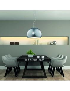 Lámpara de Techo Ontario plateada de cristal | Lámpara de Techo grande Plateada moderna Trio Lighting | LeonLeds Iluminación