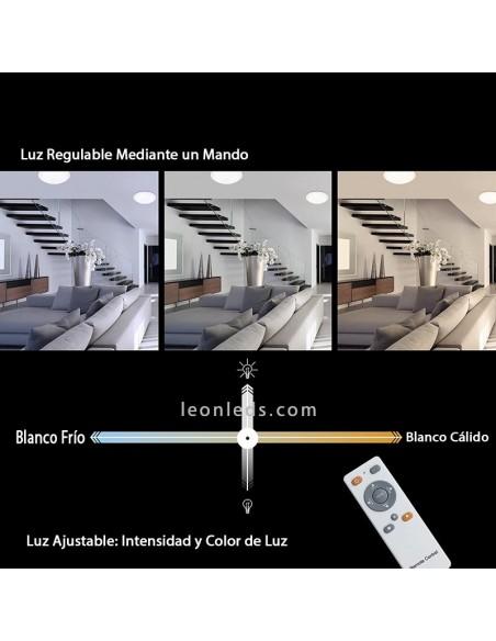 Regulación de intensidad y tonalidad de luz de un Plafón de LED mediante mando a distancia | LeonLeds Iluminación
