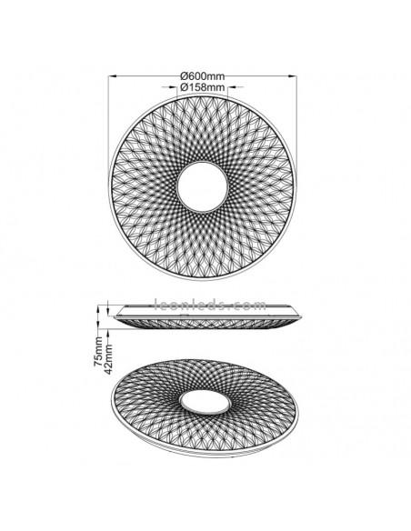 Dimensiones de Plafón LED Lotus de Trio Ligtinhg | LeonLeds Iluminación