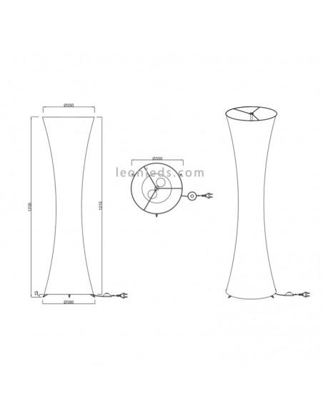 Lámpara de pie textil 1xe27 blanca de la serie Gravis de Trio Lighting   LeonLeds Iluminación