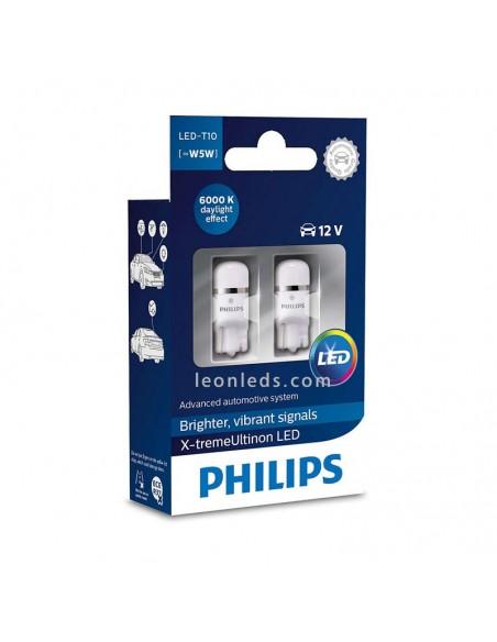 Bombillas T10 X-Treme Ultinon Led W5W de Philips 6000K | LeonLeds Iluminación