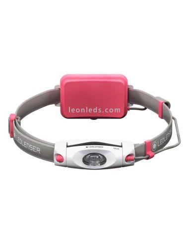 Linterna Frontal LED Lenser NEO04 | Frontal LED para deporte de color rosa | LeonLeds Iluminación