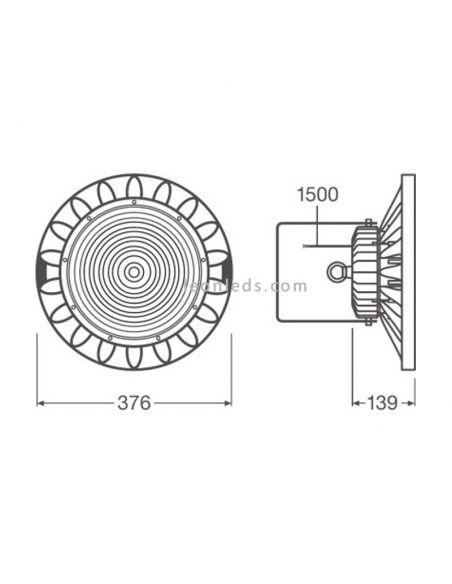 Campana Led Industrial de 165W en 2 tonos de luz y 70º de Ledvance | Leonleds Iluminación