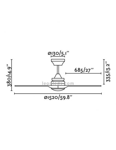 Dimensiones de Ventilador de techo Alo de Faro de Barcelona | LeonLeds Iluminaciaón