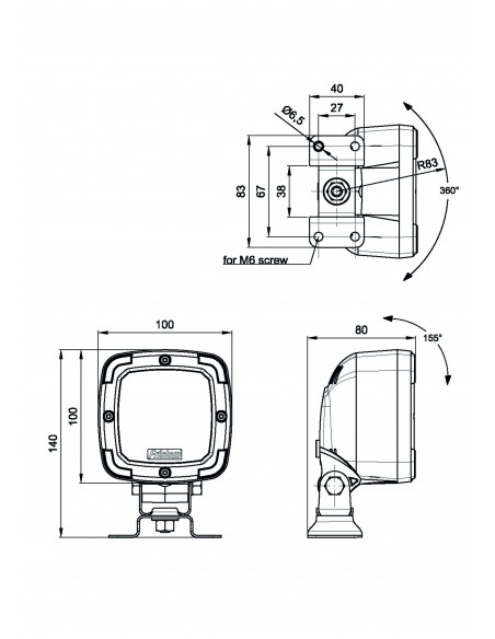 Fristom FT-036 con base magnética y cable en espiral con 7 metros y 3 metros faro LED para 4x4 agrícola | LeonLeds