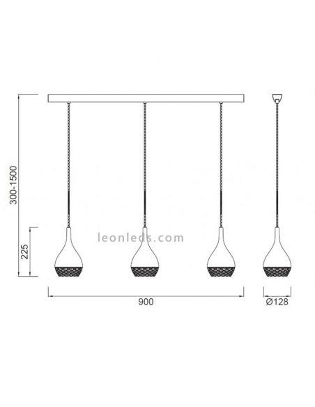 Dimensiones de Lámpara de Techo de color Cobre serie Khalifa de mantra | LeonLeds Iluminación