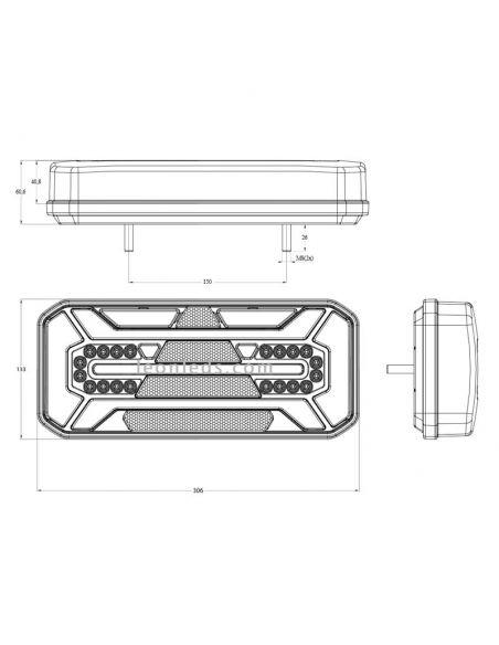 Dimensiones de Piloto trasero LED con triangulo reflectante | LeonLeds iluminación