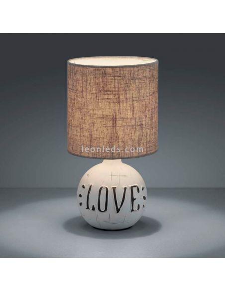 Lámpara de sobremesa marrón capuchino  con las letras de Love | LeonLeds Iluminación