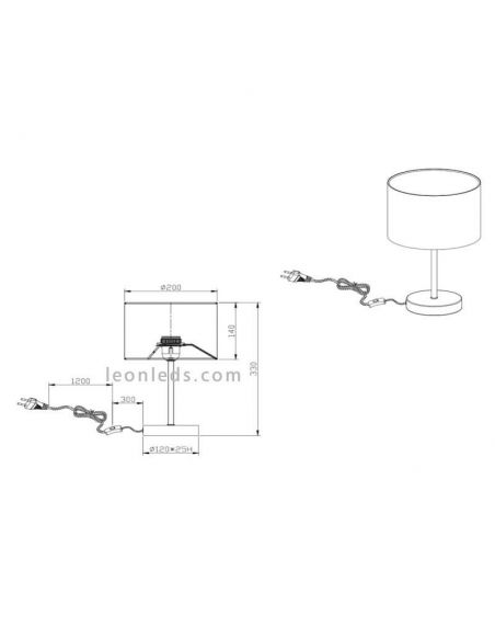 Dimensiones de Lámpara de Sobremesa negra y dorada de la serie Hostel de diseño moderno | LeonLeds Iluminación