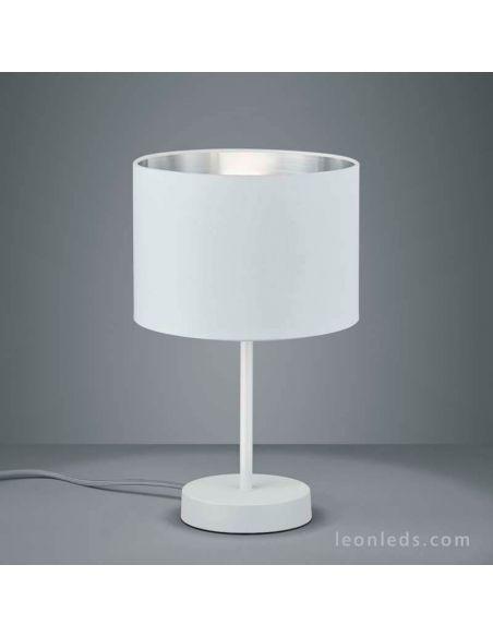 Lámpara de sobremesa moderna sencilla de color blanco y plateado | LeonLeds Iluminación decorativa