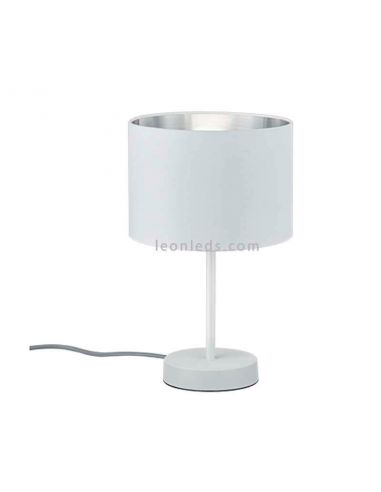 Lámpara de sobremesa de la serie Hostel de Trio Lighting de color blanca y gris | LeonLeds Iluminación