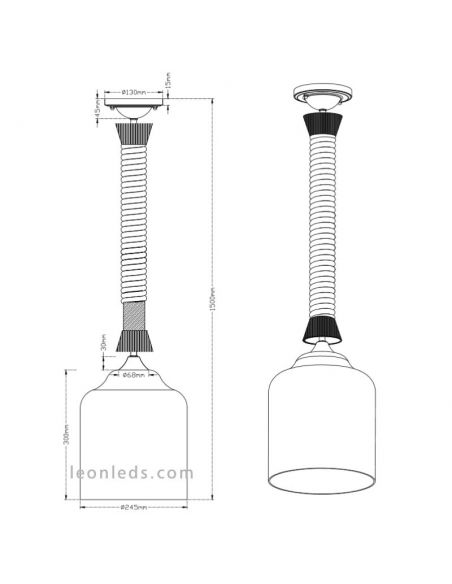 Dimensiones de Lampara de techo de la serie Judith de Trio Lighting | LeonLeds Iluminación LED
