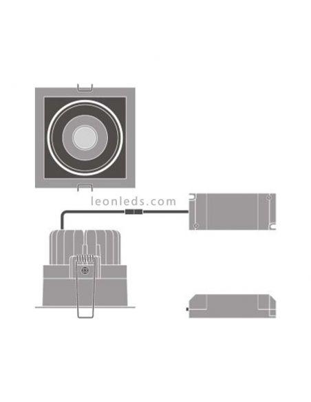 Dimensiones de Foco y de instalación de foco LED cuadrado negro de la marca LedVance   LeonLeds Iluminación
