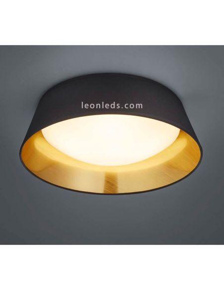 Plafón de techo LED ponts negro y dorado de la marca Trio Lighting | Leonleds Iluminación
