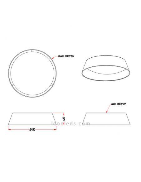 Dimensiones de Plafón LED negro y dora Ponts de Trio Lighting | LeonLeds Iluminación