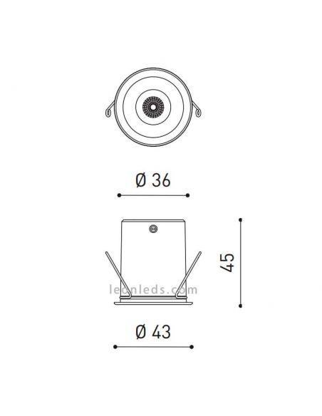 Medidas Shot Light LED de 2.1W y 17º de ArkosLight al mejor precio | LeonLeds Iluminación